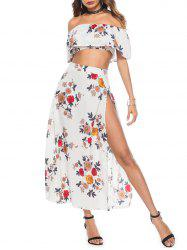 Off The Shoulder Floral Print Three Piece Dress -