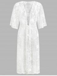 Drawstring Half Sleeve Lace Cover Up -