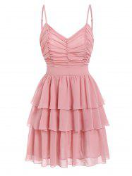 Ruched Layered Flounce Cami Dress -