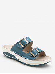 Double Buckle Strap Platform Slides -