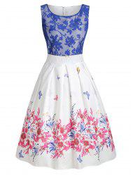 Lace Panel Butterfly Print A Line Dress -