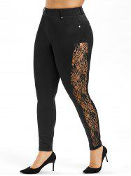 Side Lace Plus Size Skinny Pants -