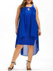 Round Neck Plus Size Overlay Shift Dress -