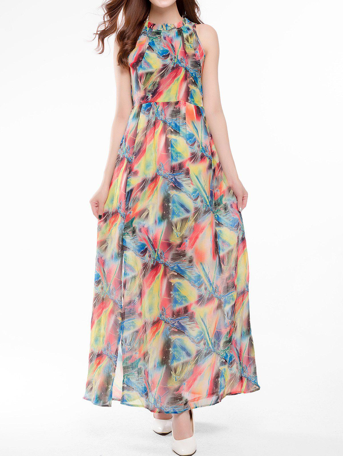 Outfits Tie Back Printed Maxi Dress