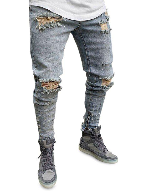 Discount Zipper Decoration Ripped Jeans
