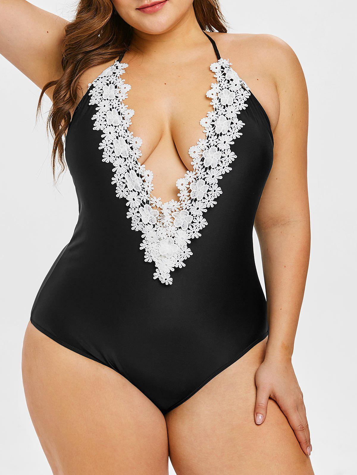 Affordable Open Back Plus Size Applique Swimwear