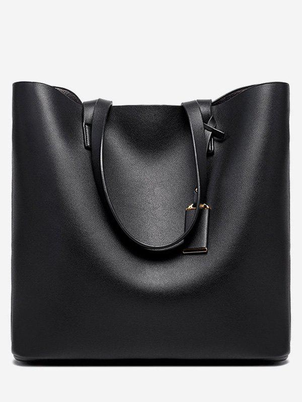 Trendy Leather Simple Solid Square Tote