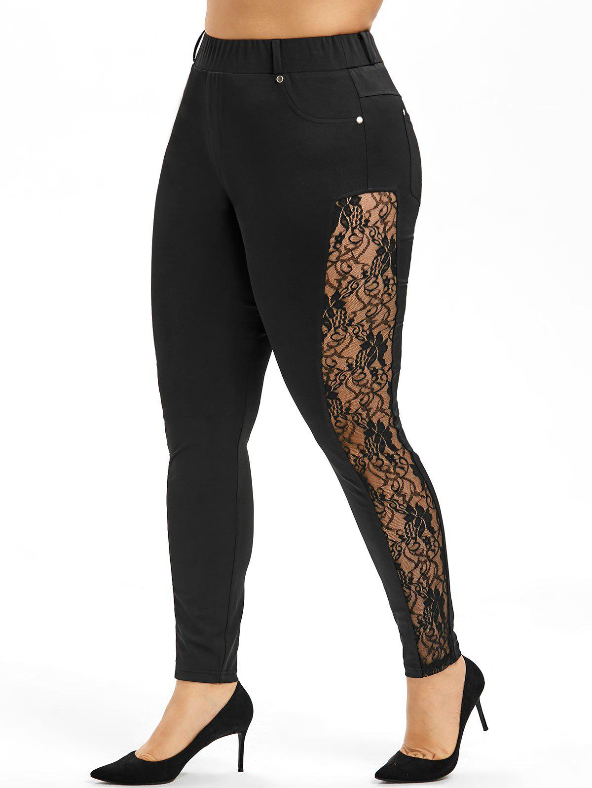 Hot Side Lace Plus Size Skinny Pants