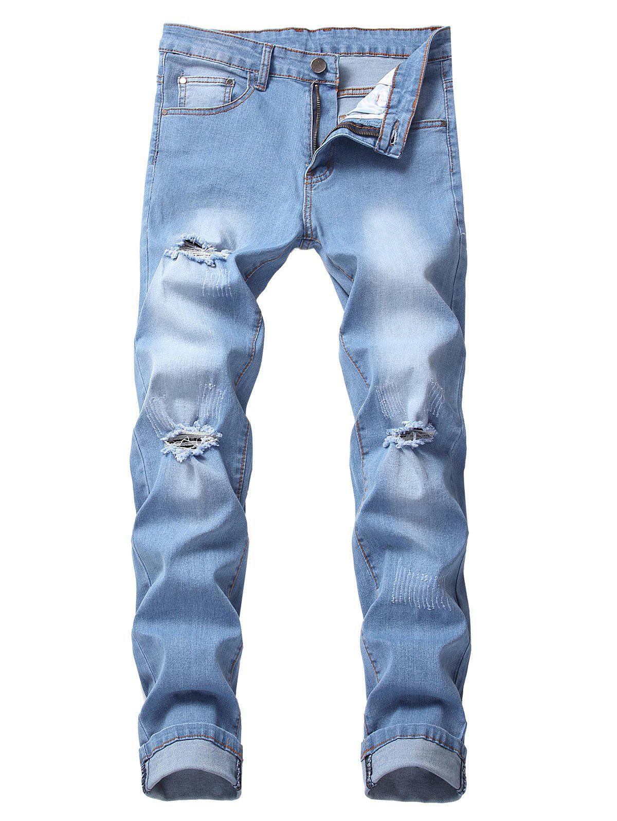 Outfit Casual Style Ripped Flanging Jeans