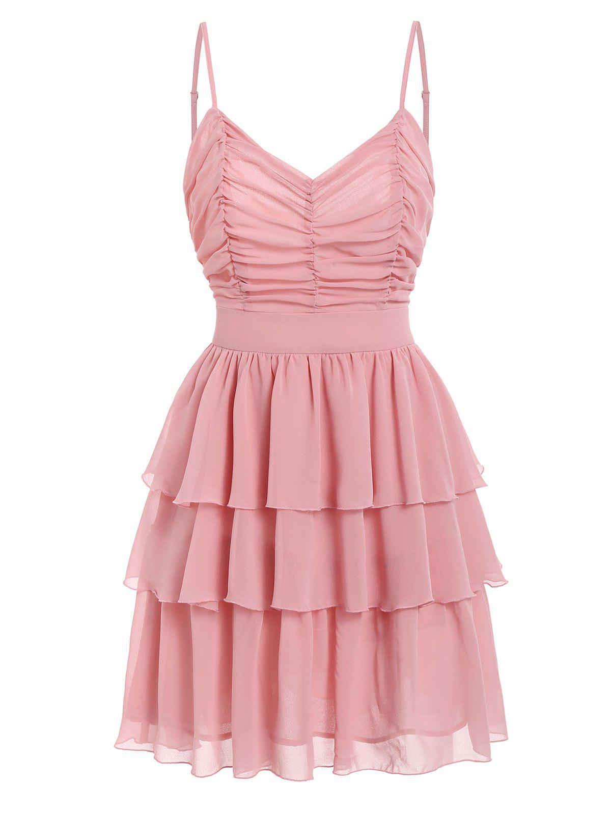 Best Ruched Layered Flounce Cami Dress