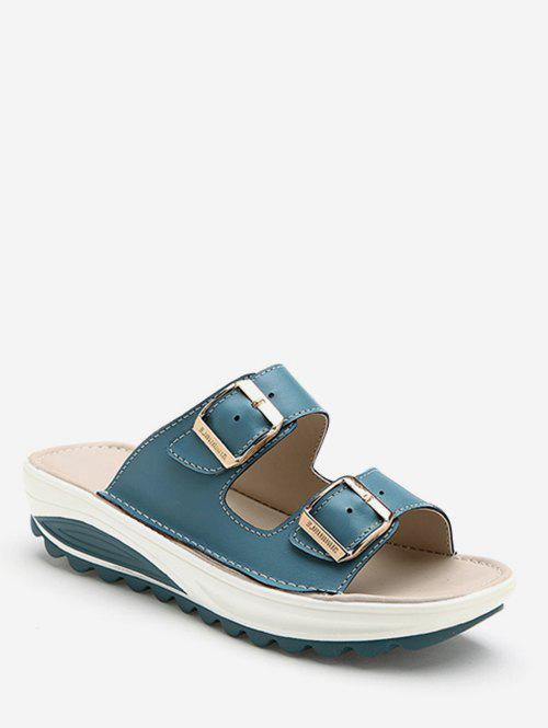 Chic Double Buckle Strap Platform Slides