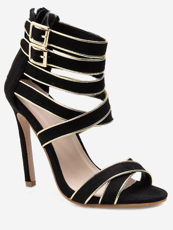 Outfit Back Zip Crisscross Strappy Heeled Sandals