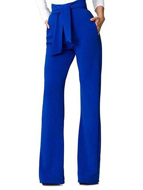 Cheap Belt Back Zip Wide Leg Pants