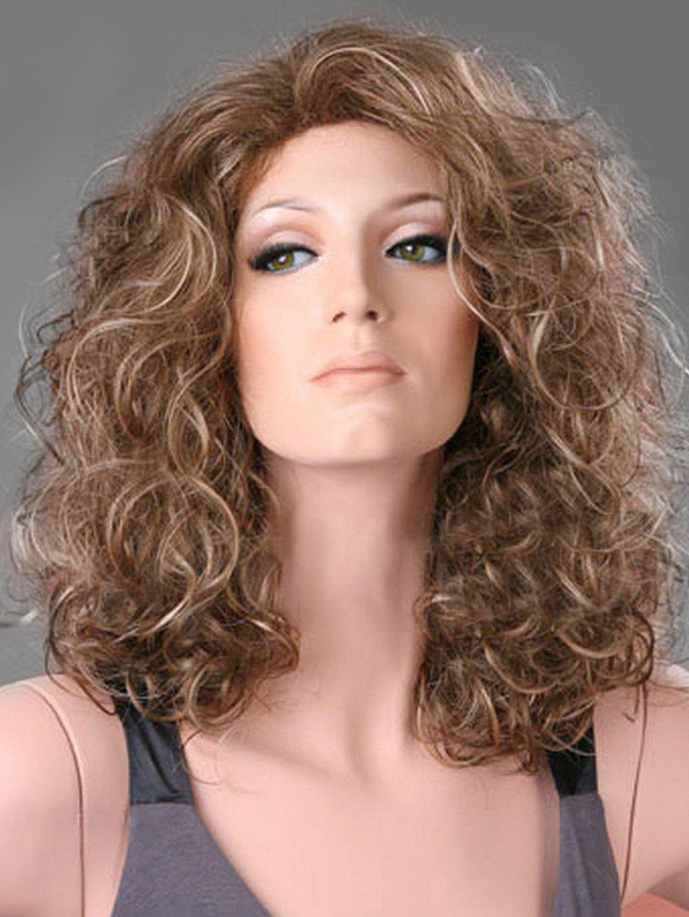 New Medium Natural Curly Free Part Synthetic Wig