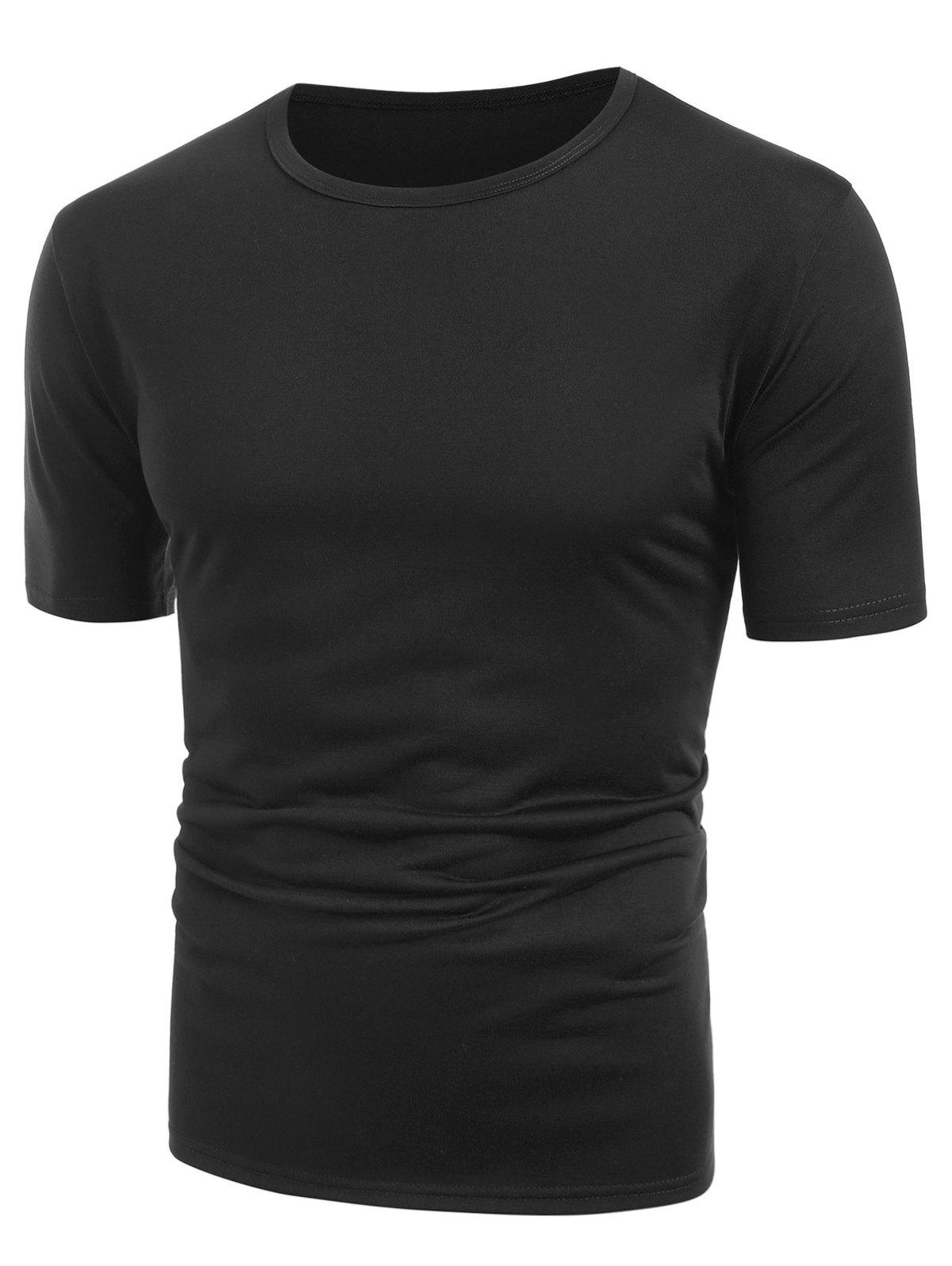 Store Round Neck Solid Color T Shirt