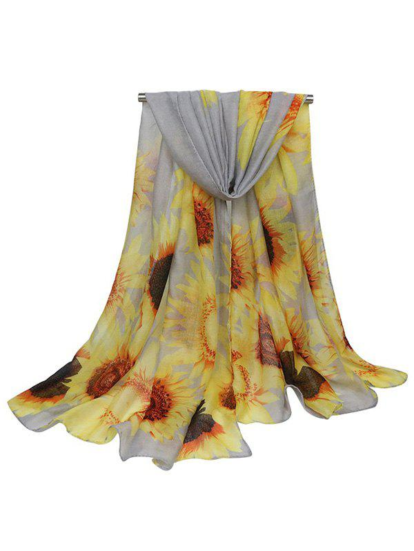 Shop Sunflower Pattern Print Long Large Scarf