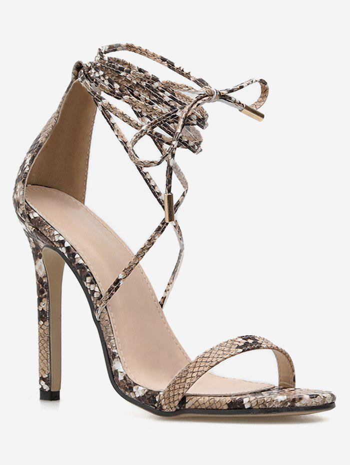 Hot Snake Print Ankle Wrap Sandals