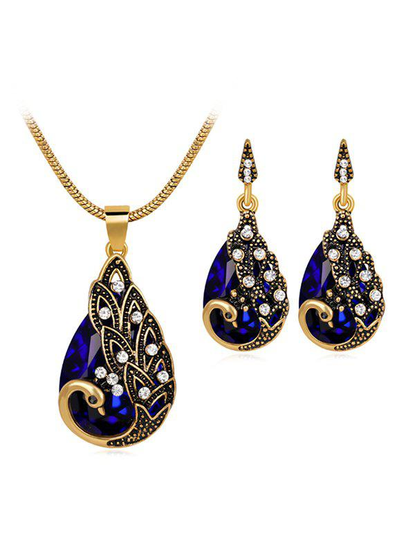 Outfits Faux Crystal Peacock Jewelry Set