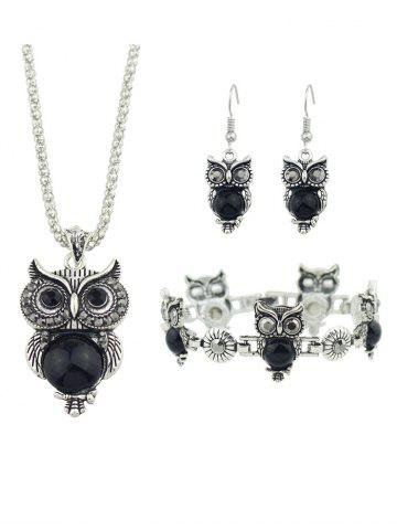 Shape Owl Rhinestone Jewelry Set