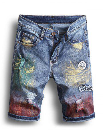 Pigment Painting Casual Jeans Shorts