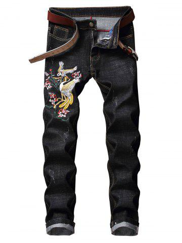 Floral Bird Embroidery Casual Jeans