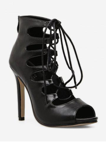 Lace Up Gladiator High Heel Boots