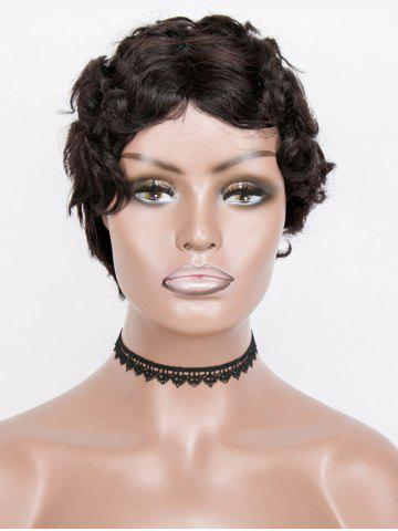 Center Part Short Curly Human Hair Wig