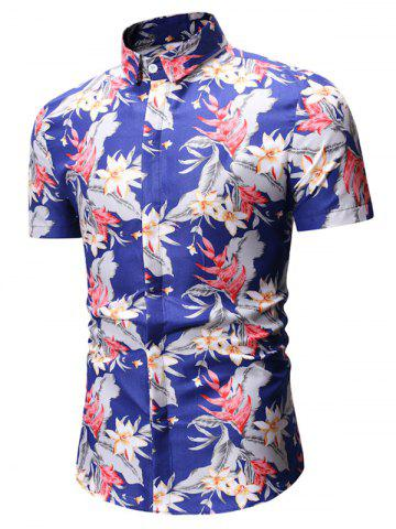 Flower Leaves Print Short Sleeve Shirt