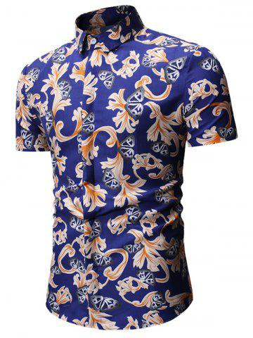 Floral Butterfly Print Short Sleeve Shirt