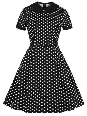 Turn Down Collar Polka Dot Dress
