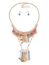 Fringe Chain Beads Necklace Earrings Set -