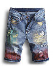 Pigment Painting Casual Jeans Shorts -