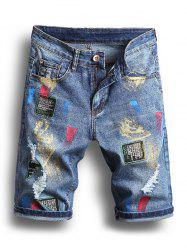 Painting Printed Ripped Jeans Shorts -