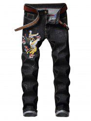Floral Bird Embroidery Casual Jeans -