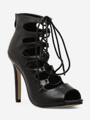 Lace Up Gladiator High Heel Boots -