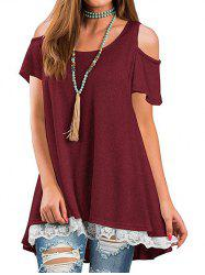 Lace Panel Cold Shoulder Round Neck Tee -