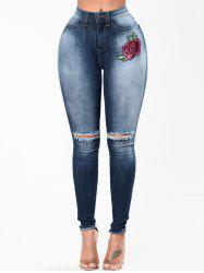 Embroidery Floral Ripped Denim Jeans -
