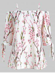 Plus Size Peach Blossom Print Open Shoulder Blouse -
