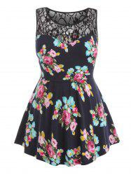 Floral Print and Lace Panel Plus Size Tank Top -