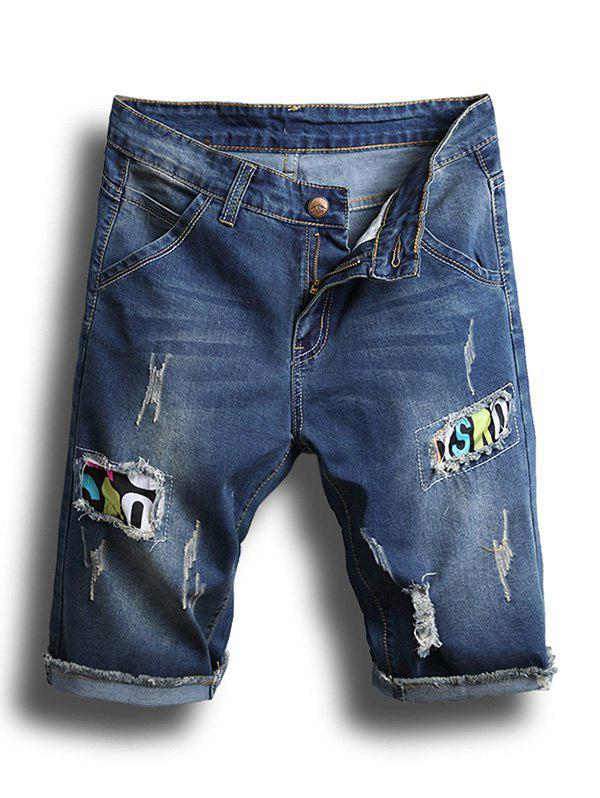Best Patchworks Design Ripped Jeans Shorts