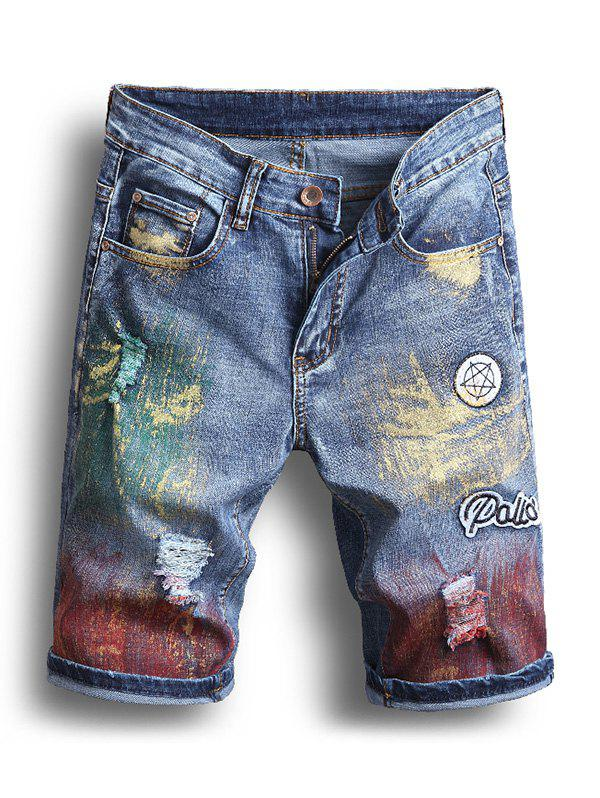 Shops Pigment Painting Casual Jeans Shorts