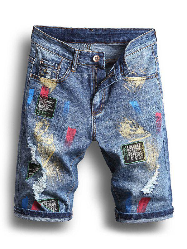 Painting Printed Ripped Jeans Shorts