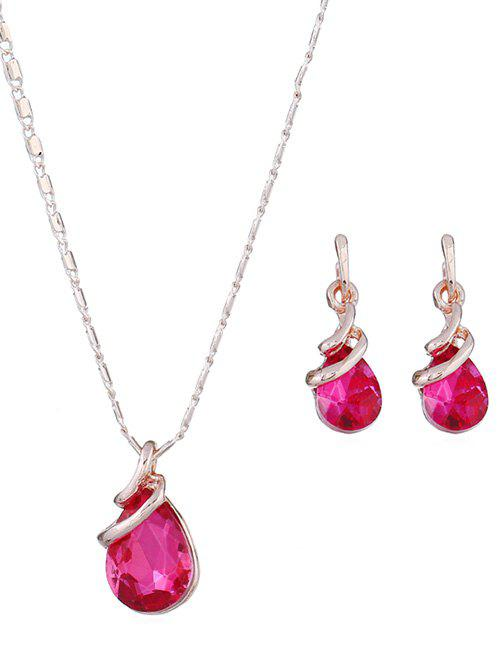 Discount Water Drop Color Faux Crystal Jewelry Set