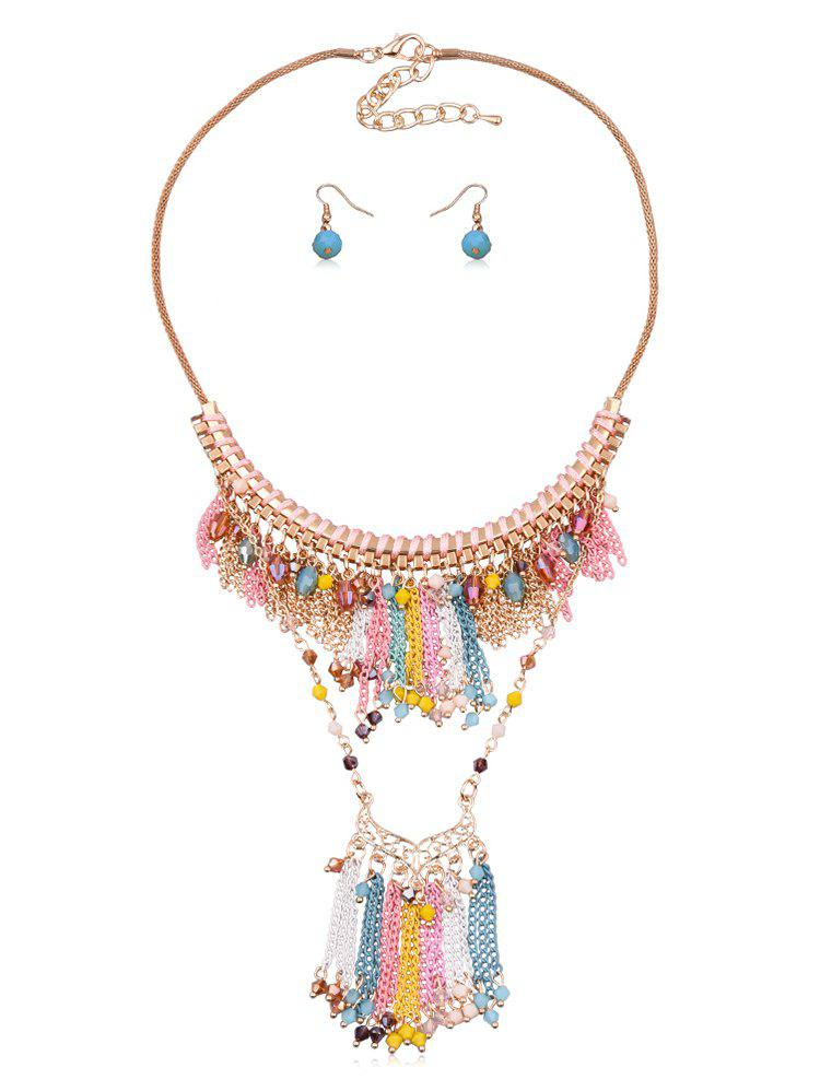 Online Fringe Chain Beads Necklace Earrings Set