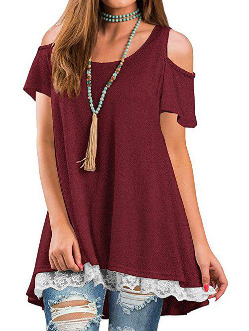 Buy Lace Panel Cold Shoulder Round Neck Tee