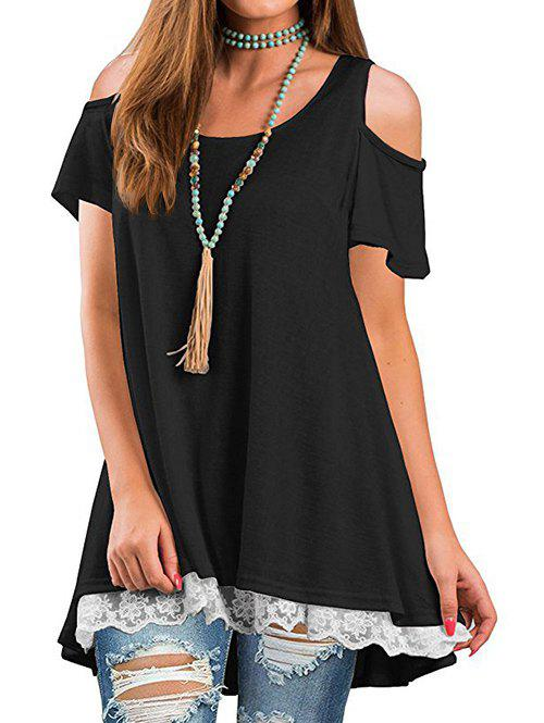 Sale Lace Panel Cold Shoulder Round Neck Tee