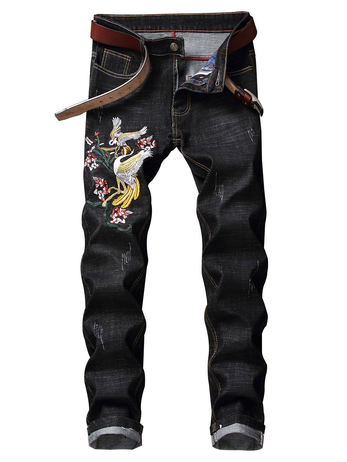 Discount Floral Bird Embroidery Casual Jeans