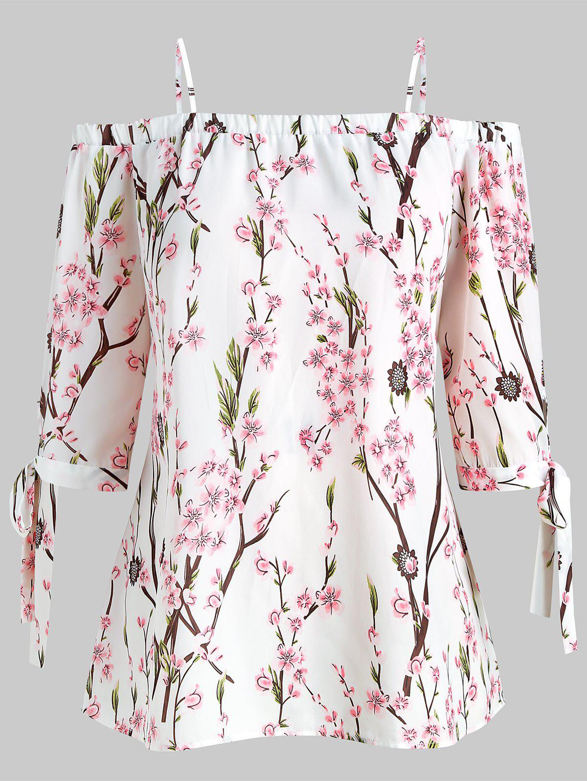 Outfits Plus Size Peach Blossom Print Open Shoulder Blouse