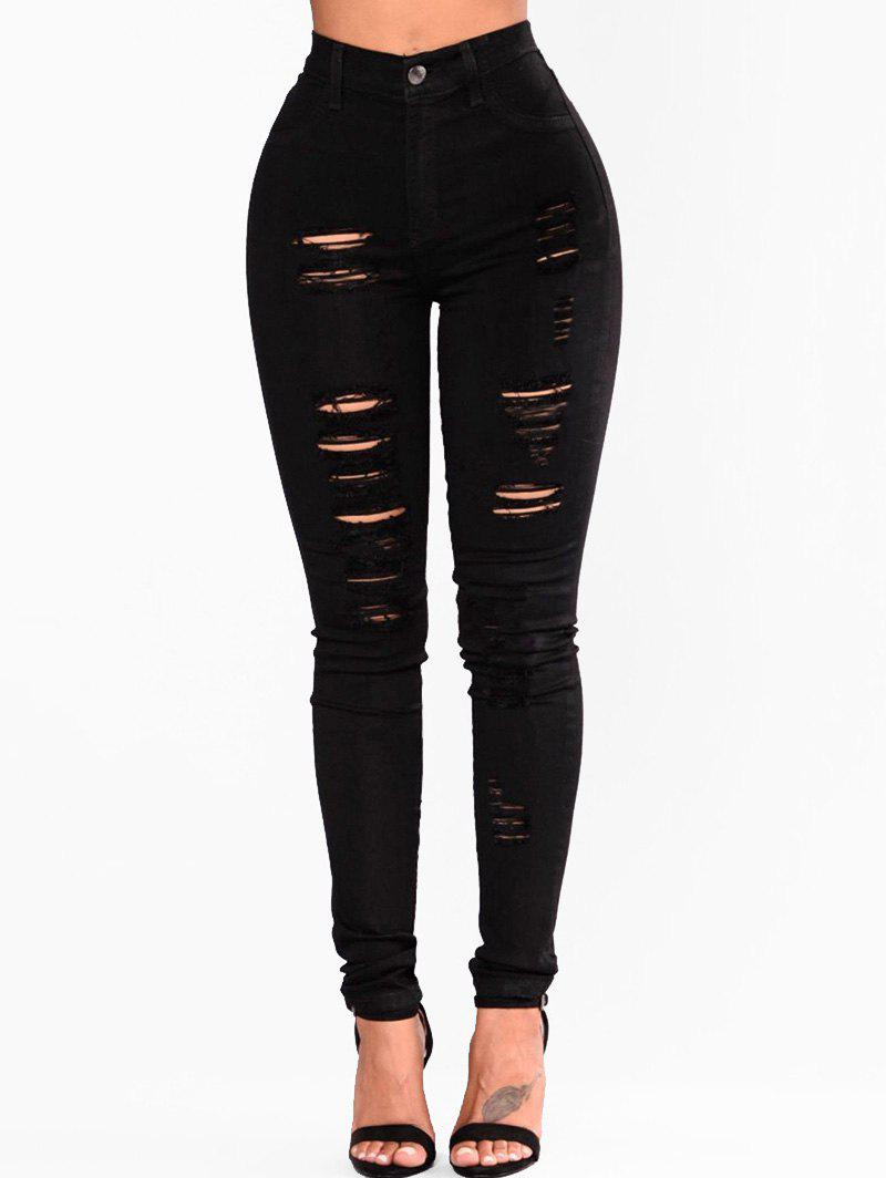 Store Solid Ripped High Waist Jeans