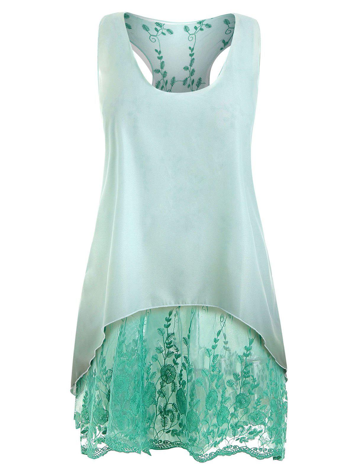 Plus Size High Low Two Piece Lace Tank Top